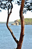 Sphinx rock and lake Borovoe, State National Natural Park Stock Photo