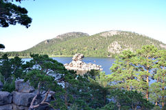 Sphinx rock and lake Borovoe, State National Natural Park Stock Photos