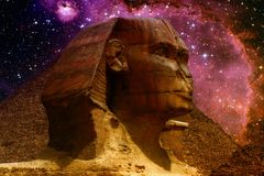 Sphinx and small Magellanic Cloud. Photo-montage of Great Sphinx of Giza and small Magellanic Cloud (Elements of this image furnished by NASA Stock Photo
