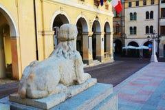 Sphinx statue, Conegliano Veneto city, Italy. Female sphinx statue in Piazza Cima, in front of the Accademy Theatre, in Conegliano Veneto, Treviso province, in Stock Photos