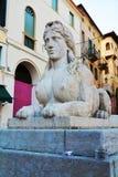 Sphinx statue in Conegliano Veneto, detail. Female sphinx statue in Piazza Cima, in Conegliano Veneto, Treviso province, in north Italy Royalty Free Stock Photo