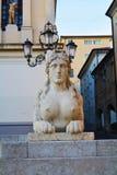 Sphinx statue, Conegliano Veneto. Female sphinx statue in Piazza Cima, in front of the Accademy Theatre, in Conegliano Veneto, Treviso province, in north Italy Stock Photography