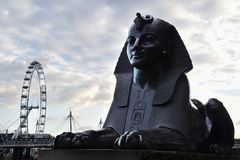 The Sphinx statue and London Eye Coca Cola London Royalty Free Stock Image