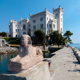 Sphinx statue and Miramare castle Royalty Free Stock Photos