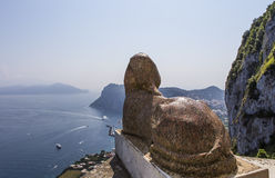 Sphinx statue over Capri island, Capri, Italy Stock Images