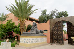 Sphinx statue small copy near entrance to the hotel Royalty Free Stock Photos
