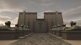 Sphinx statues at a temple in ancient Egypt. A 3D rendered image of a row of sphinx statues in ancient Egypt. The stone lions stands before a temple or tomb. At vector illustration