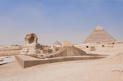 Sphinx Temple, the Sphinx and the Pyramid of Khafr. New Kingdom Sphinx Temple, the Sphinx and the Pyramid of Khafre. No people Royalty Free Stock Image