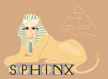Sphinx with title. Sphinx - mythical creature with body of lion and human head Royalty Free Stock Photo