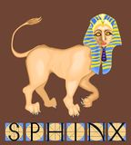 Sphinx with title. Sphinx - mythical creature with body of lion and human head Royalty Free Stock Photos