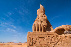 Sphinx of Wadi El Seboua. Ancient Sphinx near temple Wadi El Seboua in front of the Sahara desert, Lake Nasser, southern Egypt, Africa. The temple was rescued Stock Images