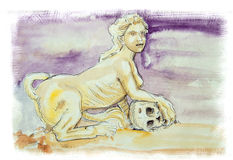 Sphinx watercolor illustration Stock Photography