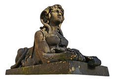 Sphinx woman stone baroque sculpture in Prague Stock Photo