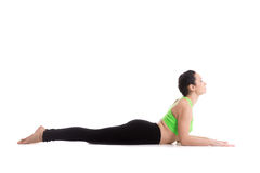 Sphinx yoga pose. Sporty yoga girl on white background doing easy variation of cobra asana, Sphinx Pose, half Cobra posture, Ardha bhudjangasana (Bhujangasana Royalty Free Stock Image
