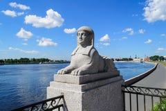 Sphinxes in St. Petersburg. Sphinxes on Sverdlovskaya embankment. The Attraction Of St. Petersburg. Ancient sphinxes on the Neva river embankment stock photos