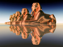 Sphinxes, statues of a male lion Royalty Free Stock Images
