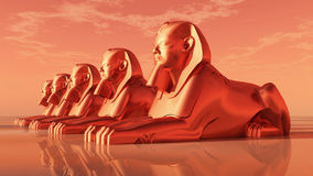 Sphinxes, statues of a male lion Stock Photos