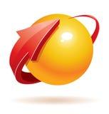 sphère 3d et flèche Images libres de droits
