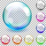 Sphères en verre transparentes multicolores Images stock