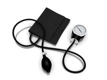 Sphygmomanometer. Black sphygmomanometer medical tool isolated on white background Stock Photo