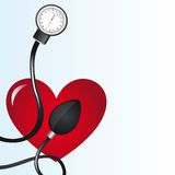 Sphygmomanometer. Black sphygmomanometer over red heart vector illustration Stock Photography
