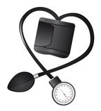 Sphygmomanometer. Black sphygmomanometer hearth-shaped isolated vector illustration Stock Photos