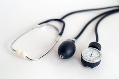 Sphygmomanometer. Three path of tonometer in perspective Stock Photos