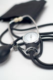 Sphygmomanometer. Blood pressure gauge tool in perspective. selective focus Stock Photography