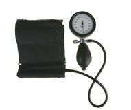 Sphygmomanometer. Black sphygmomanometer, medical tool isolated on white background(with clipping path Stock Photos