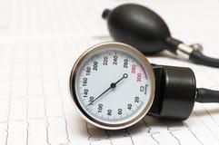 Sphygmomanometer auf dem Kardiogramm Stockfotografie