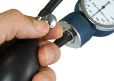 Sphygmomanometer with blood pressure meter Royalty Free Stock Photos
