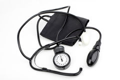 Sphygmomanometer for blood pressure on white Royalty Free Stock Photography