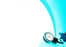 Sphygmomanometer on blue, reflective background Stock Photos