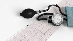 Sphygmomanometer and cardiogram Stock Photos