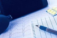 Sphygmomanometer, cardiogram and pills Royalty Free Stock Image