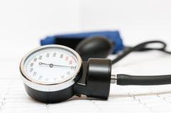 Sphygmomanometer on the cardiogram Stock Images