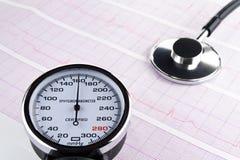 Sphygmomanometer de stéthoscope sur l'électrocardiogramme Photo stock