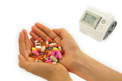 Sphygmomanometer and drugs Royalty Free Stock Photos
