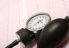 Sphygmomanometer on ECG chart Stock Images
