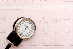 Sphygmomanometer on ECG chart Royalty Free Stock Photography