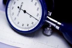 Sphygmomanometer and electrocardiogram Stock Image