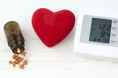 Sphygmomanometer, heart and pills on a sheet of EKG Royalty Free Stock Images