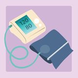 Sphygmomanometer measures blood pressure readings. Of 120 80 medical device stock illustration