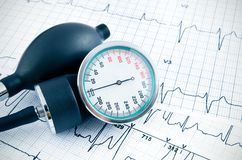Sphygmomanometer on medical background Royalty Free Stock Images