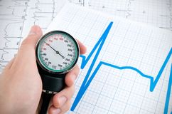 Sphygmomanometer on medical background Stock Image