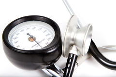 Sphygmomanometer and medical stethoscope Royalty Free Stock Image