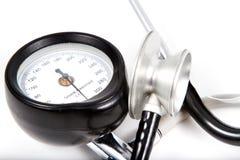 Sphygmomanometer and medical stethoscope. Isolated on white background royalty free stock image
