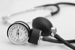 Sphygmomanometer and stethoscope. Sphygmomanometer stethoscope blood pressure meter medical tool Stock Photos