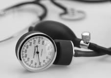 Sphygmomanometer and stethoscope. Sphygmomanometer stethoscope medical tool pressure measure instrument Stock Image
