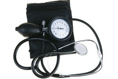Sphygmomanometer and stethoscope. Black sphygmomanometer and stetfoscope, l isolated on white background(with clipping path Royalty Free Stock Images